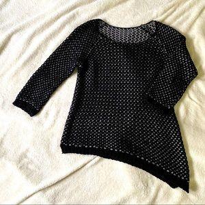 A-symmetrical black/grey knit sweater size Large